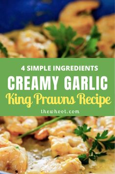 This Creamy Garlic King Prawns 4 ingredients recipe has been an internet smash. We have the recipe details to show you how. Cooked Prawn Recipes, King Prawn Recipes, Healthy Salmon Recipes, Fish Recipes, Lunch Recipes, Seafood Recipes, Healthy Dinner Recipes, Cooking Recipes, Prawn Dishes