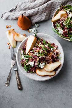 This Fall Harvest Salad is filled with sweet Bosc pear, bitter radicchio and endive, Gorgonzola cheese, walnuts, and tossed with maple balsamic vinaigrette. Tahini, Quinoa, Healthy Snacks, Healthy Recipes, Eating Healthy, Delicious Recipes, Harvest Salad, Pear Salad, Salad Recipes For Dinner