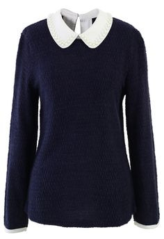 Pearly Peter Pan Collar Top in Navy Blue - Tops - Retro, Indie and Unique Fashion