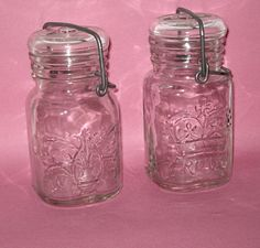 Wheaton NJ Mason Jar  Square Clear Glass  by KathysVintageItems