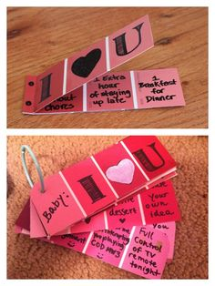 Handmade Valentines Day coupons for my boyfriend <3