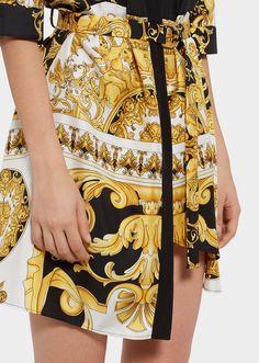 b62a4568701c Robe chemise en soie imprimé Barocco SS 92 - Versace Femme   Boutique en Ligne  France