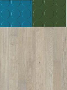 I resp entré väljer vi två olika kulörer av Mondos gummigolv Bollo. I Einar och Svantes entré blir det ett grönt och huvudentrén blir det ett mer åt petroleumblå. Även väggar/garderober/ dörrar och alla beslag (i huvudentrén även taket) i resp. entré kommer anpassas till resp. kulör. Jag kallar det homogeniserade rum. På övriga golv ligger det vitoljad ek, med rustik karaktär...för att skapa lite mostånd mot det i övrigt ganska moderna...