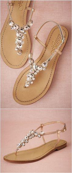 half off 4f473 6cb22 Every Bride Will Love to Wear These Wedding Flat Sandals Glitzer Schuhe,  Schöne Schuhe,