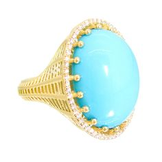 Roule & Company Cabochon Turquoise Diamond Pave Cocktail Ring | From a unique collection of vintage cocktail rings at https://www.1stdibs.com/jewelry/rings/cocktail-rings/