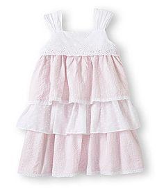 Rare Too Toddler Girls 2T-4T Classic Ruffled Brown Pink Seersucker Summer Dress