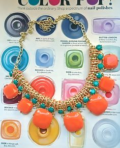 Fetch and Frolic Link Necklace Set Orange/Turquoise