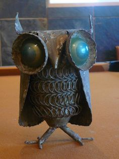 Metal Owl Sculpture / Signed C Jere / Dated 1969