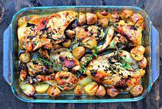 Pollo asado con vino blanco y hierbas aromáticas - Roasted chicken in dry wine and herbs   Cocina