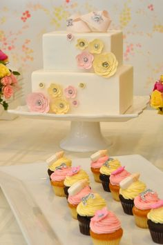 Baby shower: vintage yellow & pink for girl!! I found my cake being made for next weekend.