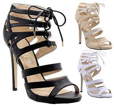 91b0cb63d634 Ladies Womens Cut Out Lace Up High Heel Ankle Strap Gladiator Sandals Shoes  Size Shoes Sandals