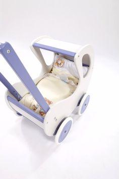 Pallas - Retro wózek dla lalek z pościelą - biały z fioletowymi