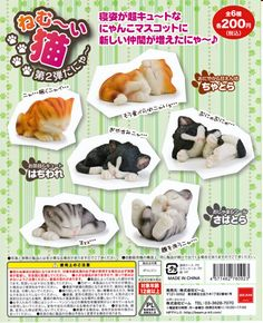 Sleepy Cats vol.2 Figurine 6pcs set Cupsule Toy Gashapon BEAM Japan