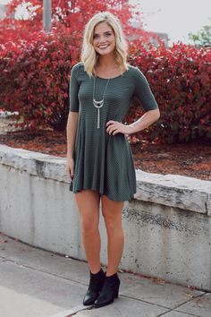Olive Striped Ribbed Knit Swing Dress – UOIOnline.com: Women's Clothing Boutique
