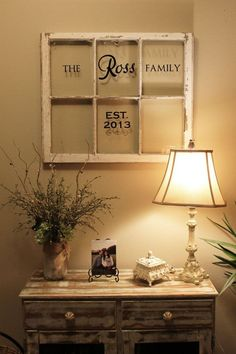 I love this!  Upcycled window with Uppercase Living vinyl.