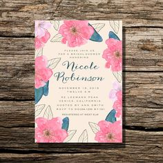 Bridal Shower Invitation Bright Hand Painted Floral Calligraphy Invite,  Bridal Shower Invite | DIY Printable Wedding Invite