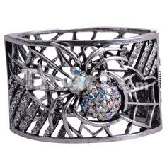 New Fashion Spider Web Alloy Rhinestone Women's Bangle Bracelet