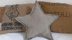 Coussin étoile en lin froissé fait main - Pillow star in linen DIY