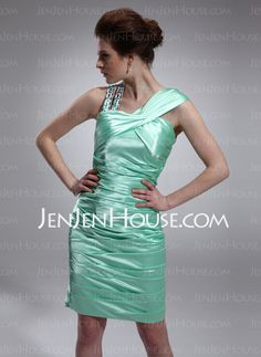Cocktail Dresses - $139.99 - Sheath V-neck Knee-Length Charmeuse Cocktail Dress With Ruffle Beading (016021205) http://jenjenhouse.com/Sheath-V-Neck-Knee-Length-Charmeuse-Cocktail-Dress-With-Ruffle-Beading-016021205-g21205