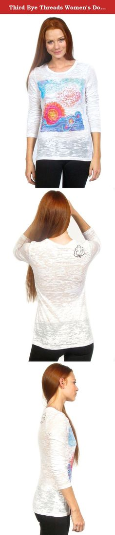 Third Eye Threads Women's Double Sun Yoga Long Sleeve (M). Vibrant double sun design, the yin and yang of the galaxy! Small Ganesh on right shoulder, because Ganesh has always got your back. Hand treated cotton/poly burnout for vintage feel and look. Machine wash cold, tumble dry low. Designs are artisan, hand printed sublimations. They are gassed directly into the fabric to make them super soft to the touch with no hand. Eco-friendly, non-toxic Swiss inks are used for vibrant and…