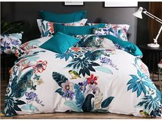 Designer Birds and Flowers Painting Ethnic Style Cotton 4-Piece Bedding Sets