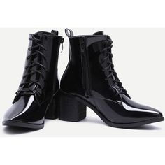 SheIn(sheinside) Black Patent Leather Point Toe Lace Up Booties ($44) ❤ liked on Polyvore featuring shoes, boots, ankle booties, black boots, black patent leather boots, chunky black booties, lace up high heel booties and black patent leather booties