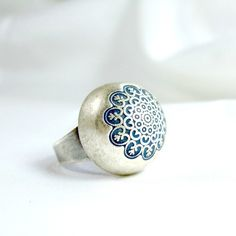 Silver statement ring big rings boho chic old style jewelry enamel blue silver ring for her