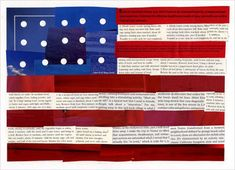 USA Flag Collage, in the style of Faith Ringgold, using old magazines. #Ringgold, #collage