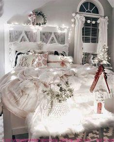 Winter Bedroom Decor, Winter Bedding, Christmas Bedroom, Cozy Christmas, Cozy Bedroom, Kids Bedroom, White Christmas, Christmas Stocking, Christmas Room Decorations
