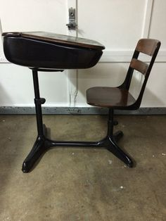 Dark Wood With Black Legs Listed For 225 Old School Desks Adjule Desk