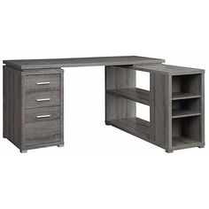 Venetian Worldwide Monterey L-Shaped  Desk in Weathered Grey Finish
