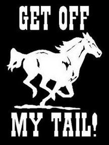 "Cowgirl Stickers for Trucks | ... Get off my Tail"" Car Vinyl Decal Truck Trailer Window Cowboy Cowgirl"