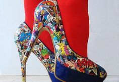 DIY Comic Shred High Heels ~ This is very unique design and it will absolutely become your favorite pair of heels.