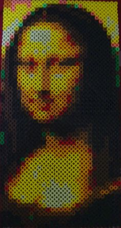 Mona Lisa perler beads (56 x 29 beads) by Yedo on deviantART