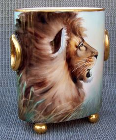 "Vintage Limoges France 1900's Hand Painted ""Lion & Savannah Oasis"" 6-3/4"" Cache Pot Marked Heidrich Studio by Renowned Chicago Artist, ""Adolph Heidrich"""