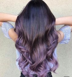 babylights by hairbypkilla Creative color by hairbybettyn Used all guytang mydentity Lavender Hair, Lilac Hair, Hair Color Purple, Hair Dye Colors, Dark Purple, Brown Hair With Purple Highlights, Purple Brown Hair, Purple Ombre, Aesthetic Hair