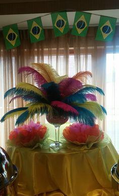 Viana Hotel & Spa Client Appreciation Party 2015 Rio Carnival Theme. Feather Table Centerpieces.