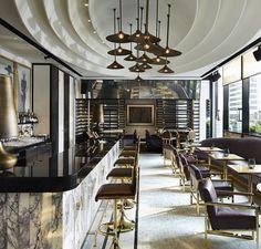 | Bar & Restaurant | Marble, brass, ceiling detail | Inspiration | Mono Luxe…