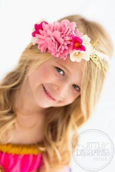 アンティークチェリーピンク&クリームのフェルトフラワーヘッドドドレス【Pink Angel 】