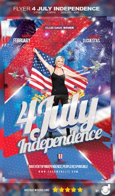 "Flyer Independence Day - Template  #GraphicRiver         Excellent design Flyer for your next ""Party 4 July Independence Day""  	 • PSD FLYER • CMYK • 300 DPI • PRINT READY • ORGANISED LAYERS • SIZE 4 X 6 • CUTTING LINE 0.25  	 The fonts used in this flyer: - Bebas - Arial - Lobster  	 free font -  .dafont /es/lobster.font -  .dafont /es/bebas.font  Photo Credit: photodune /item/woman-with-a-flag/4298037?WT.ac=category_thumb&WT.seg_1=category_thumb&WT.z_author=piedmontphoto     Created…"