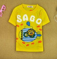 Fashion Kids' Cute Monkey Letters T-shirt Yellow