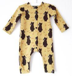 Baby one piece brown bear print - mustard yellow animal sleepsuit - unisex pajamas - toddler playsuit - baby boy sleeping suit Yellow Animals, Baby F, Baby Sleepers, Bear Print, Organic Baby Clothes, Home Outfit, Unisex Baby, Brown Bear, Mustard Yellow