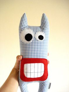 Mad Monster Blue Plaid by cronopia6 on Etsy, $14.00