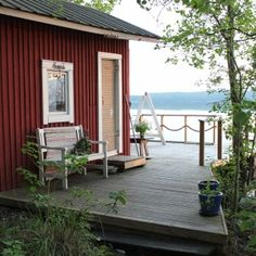 sauna Cottage Porch, Cozy Cottage, Cottage Homes, Scandinavian Cabin, Swedish Cottage, Outdoor Sauna, Finnish Sauna, Summer Cabins, Apartment Goals