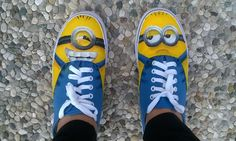 Minions' shoes -painted by me #handmade #shoes #minions #creative #painted #shoes #funnyshoes #original #despicableme