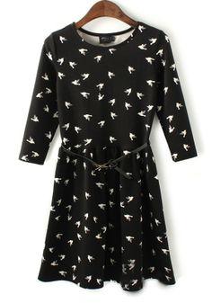 Black Floral Half Sleeve Above Knee Knit Dress