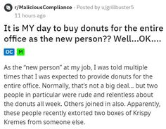 This employee is not letting themselves get bullied into fully participating in free donut day. #donut #employee #story