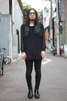 black with blue dip dye