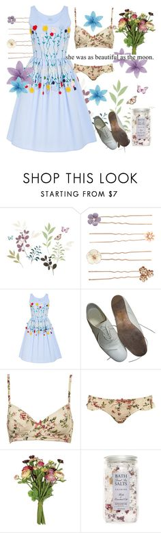 """""""Flowery language"""" by alongcametwiggy ❤ liked on Polyvore featuring York Wallcoverings, Accessorize, VIVETTA, Yohji Yamamoto, Sweet Pea by Stacy Frati, Topshop and OKA"""