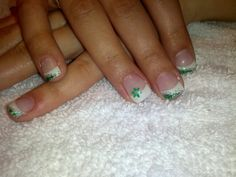 Gel nails green, white and sparkles!